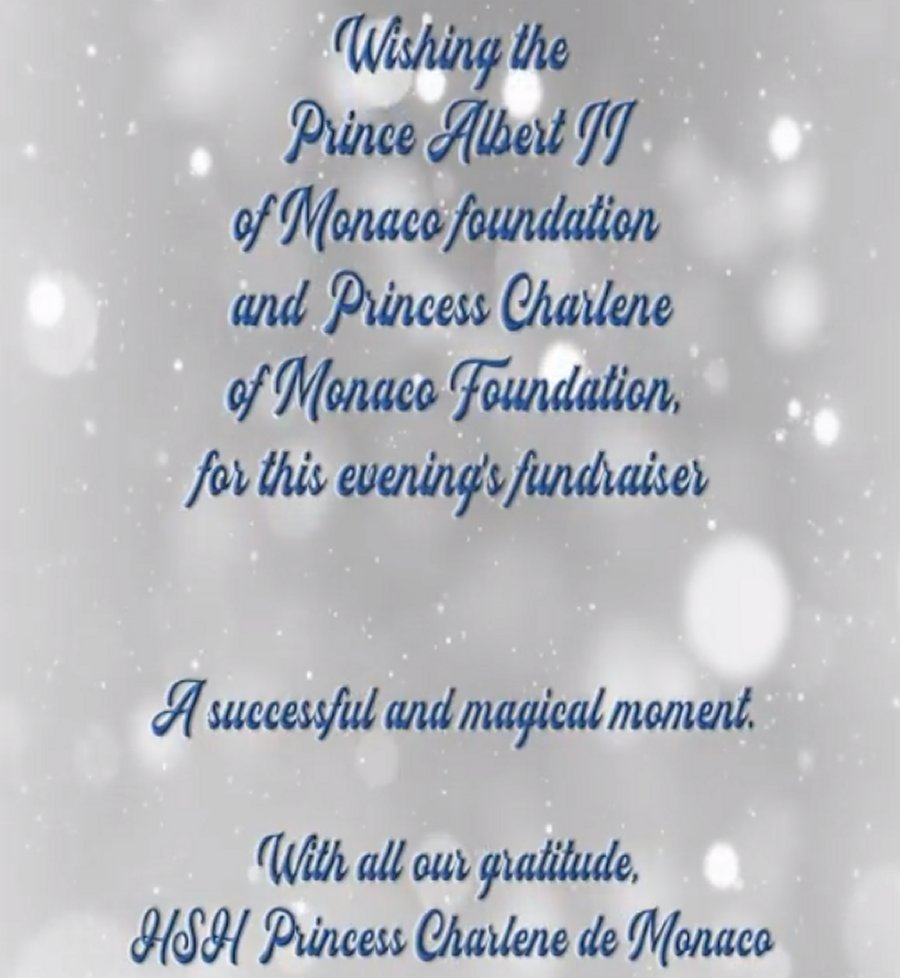 Message from Princess Charlene of Monaco