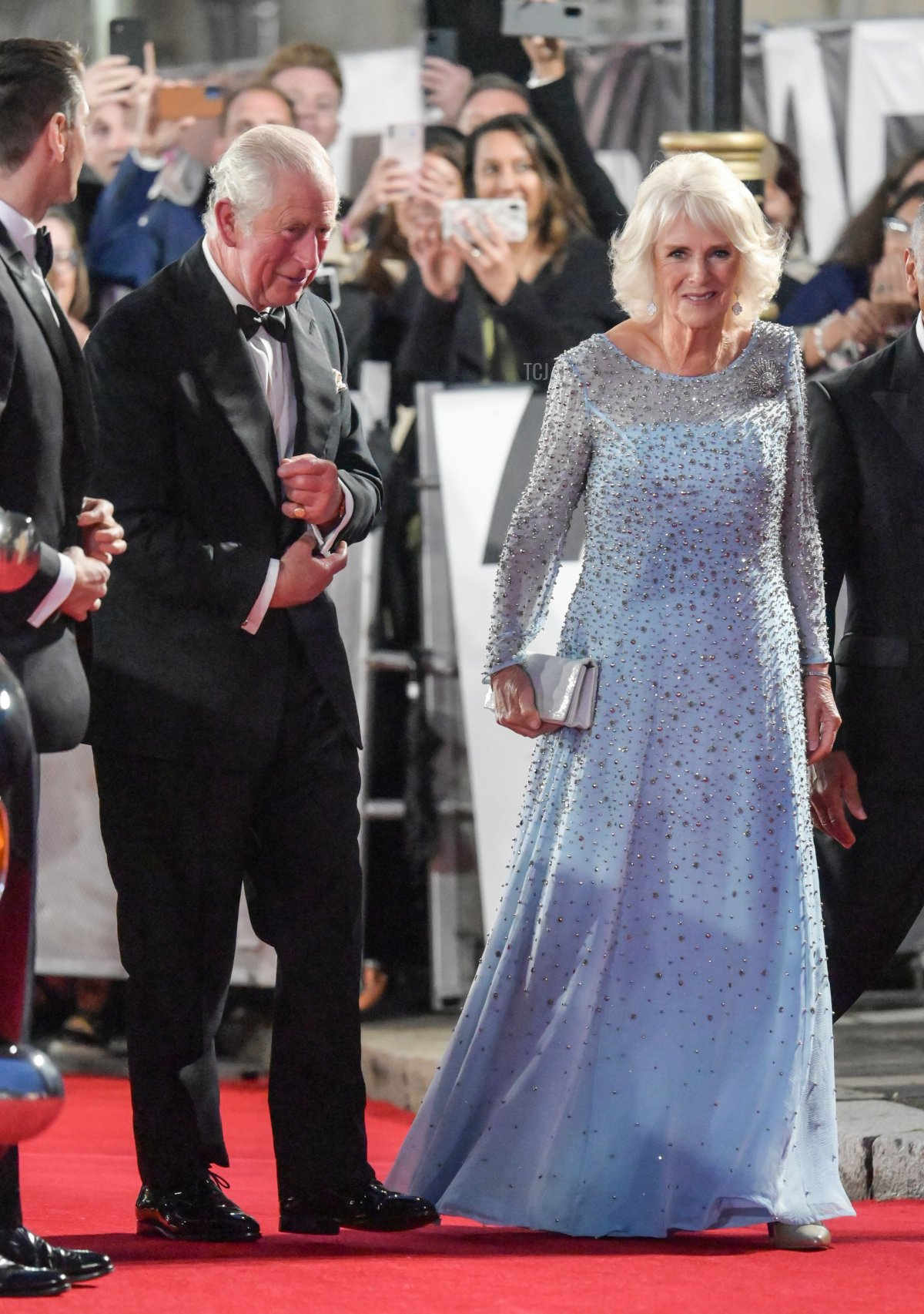 """Prince Charles, Prince of Wales and Camilla, Duchess of Cornwall attend the """"No Time To Die"""" World Premiere at Royal Albert Hall on September 28, 2021 in London, England"""
