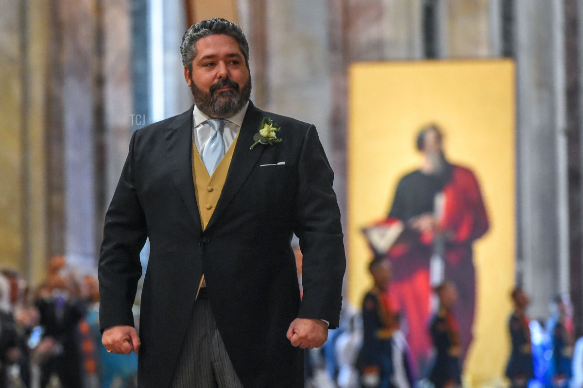 Grand Duke George Mikhailovich Romanov reacts during his wedding ceremony to Victoria Romanovna Bettarini at Saint Isaac's Cathedral in Saint Petersburg, on October 1, 2021