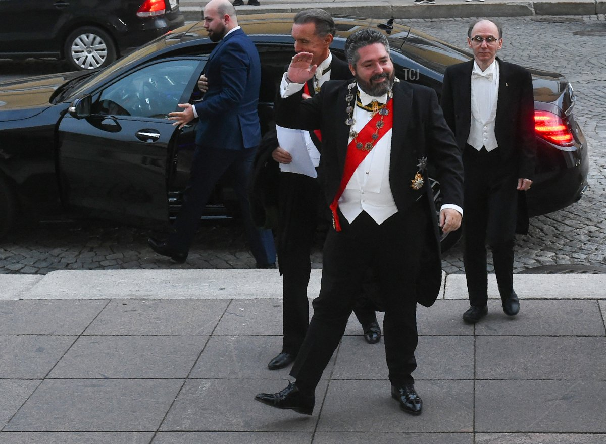 Grand Duke George Mikhailovich Romanov arrives to attend a wedding dinner after his wedding ceremony in Saint Petersburg, on October 1, 2021