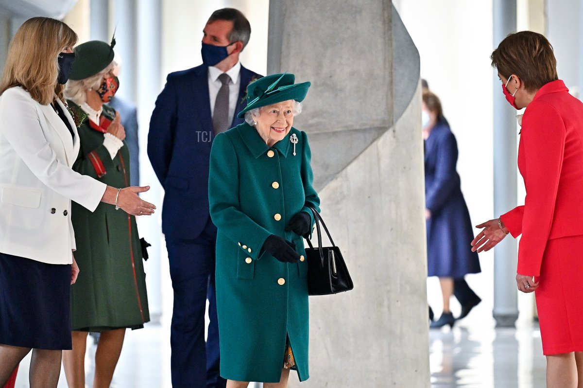 Queen Elizabeth II is greeted by First Minister Nicola Sturgeon at the opening of the sixth session of the Scottish Parliament attends the opening of the sixth session of the Scottish Parliament on October 02, 2021 in Edinburgh, Scotland