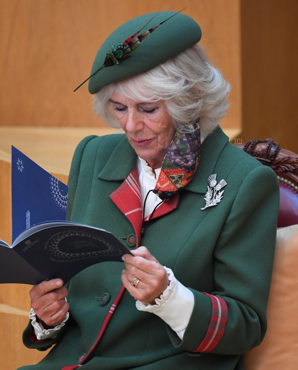 Britain's Camilla, Duchess of Cornwall sits in the Debating Chamber during the opening of the sixth session of the Scottish Parliament on October 02, 2021 in Edinburgh, Scotland