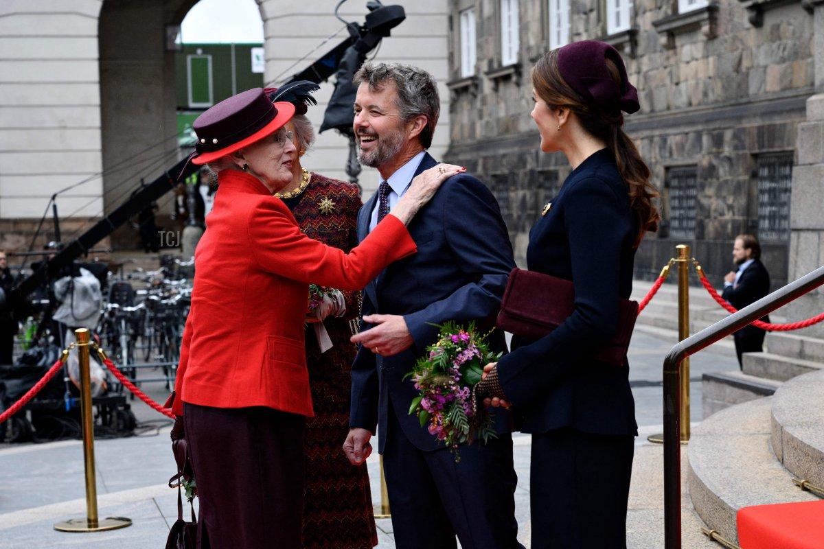 Queen Margrethe of Denmark, Crown Prince Frederik of Denmark, Crown Princess Mary of Denmark and Princess Benedict of Denmark arrive at the opening of the Danish Parliament Folketinget 2021 in Copenhagen, Denmark, on October 5, 2021
