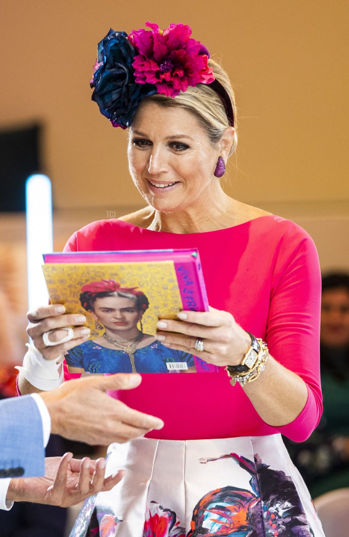 """Queen Maxima of Netherlands attends the opening of the exhibition """"Viva la Frida!: Life and Art of Frida Kahlo"""" at the Drents Museum in Assen, on October 7, 2021"""
