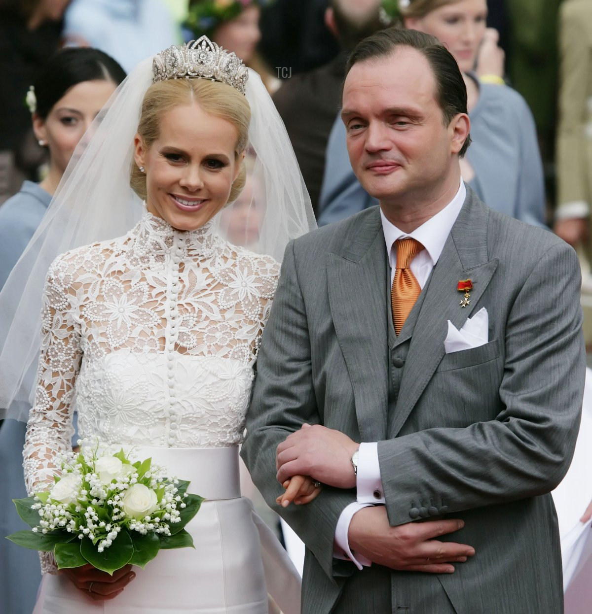 Prince Alexander zu Schaumburg Lippe (r) and his bride Nadja Anna Zsoeks leave the church after the wedding ceremony of Prince Alexander zu Schaumburg Lippe and Nadja Anna Zsoeks at the city church on June 30, 2007 in Bueckeburg, Germany