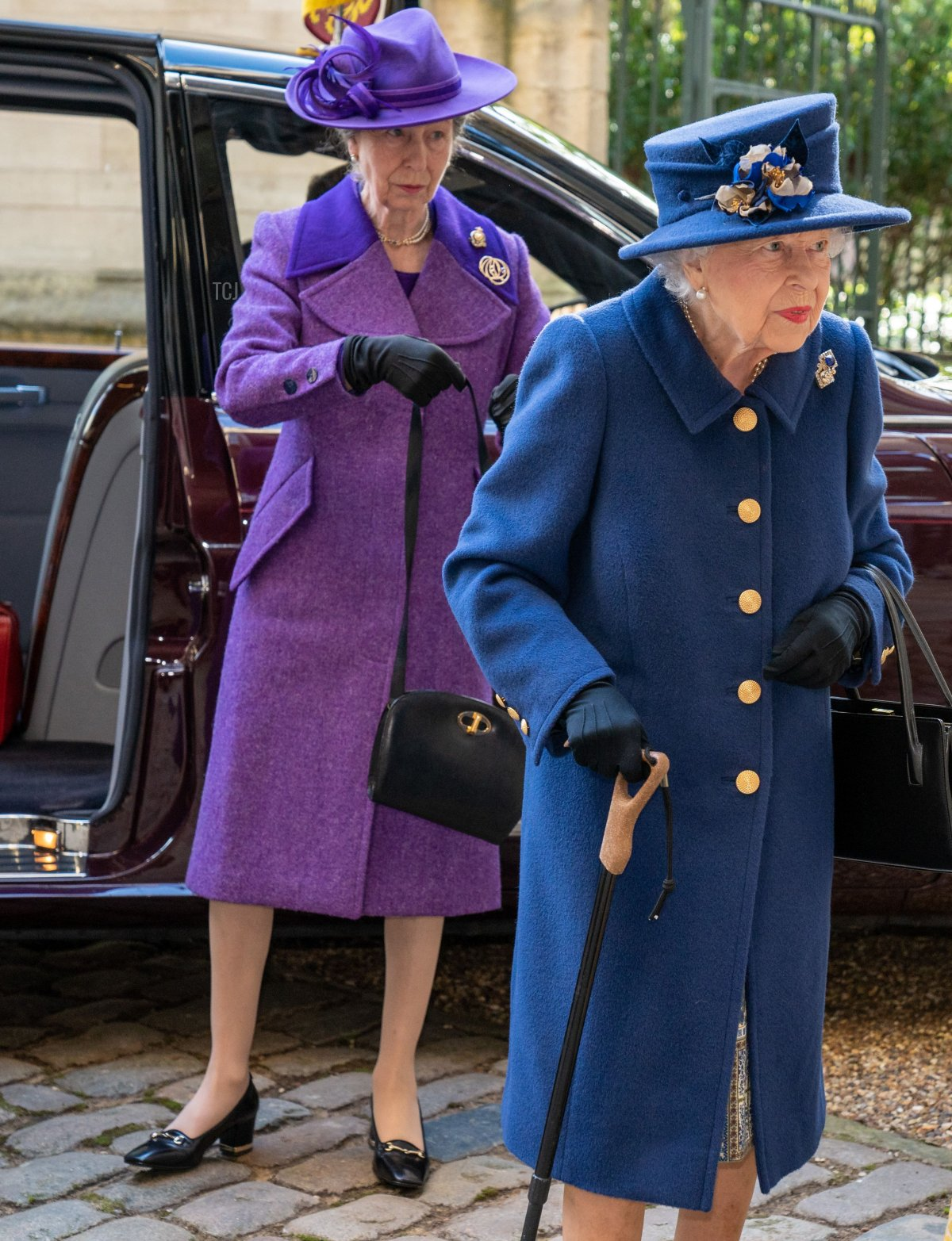 Britain's Queen Elizabeth II (R) and Britain's Princess Anne, Princess Royal (L) arrive to attend a Service of Thanksgiving to mark the Centenary of the Royal British Legion at Westminster Abbey in London on October 12, 2021