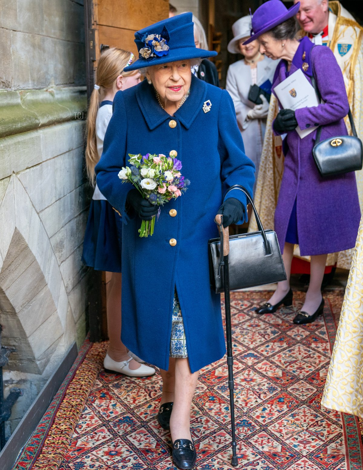 Queen Elizabeth II and Princess Anne, Princess Royal attend a service of Thanksgiving to mark the centenary of The Royal British Legion at Westminster Abbey on October 12, 2021 in London, England