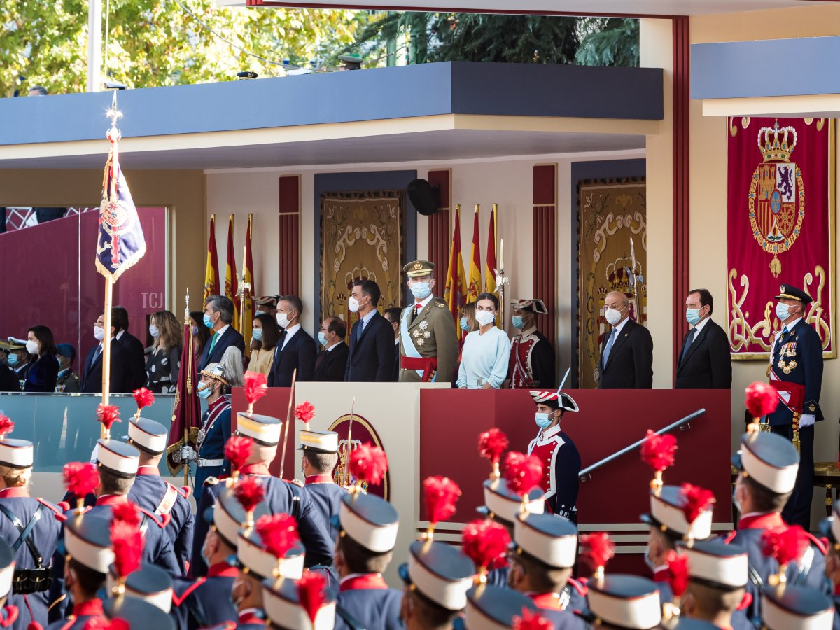 King Felipe of Spain, Queen Letizia of Spain, Princess Leonor and the president of the Spanish government Pedro Sánchez attend the National Day Military Parade on October 12, 2021 in Madrid, Spain