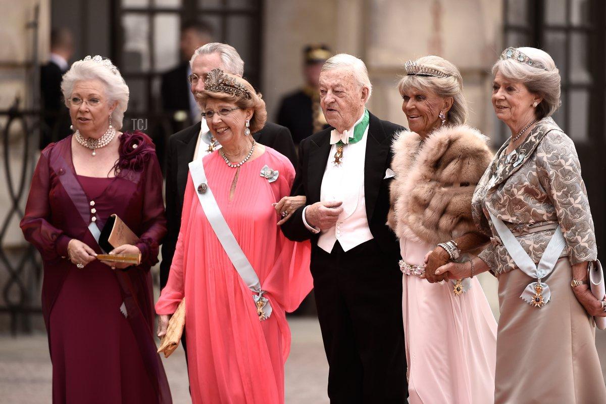 Princess Christina, Mrs. Magnuson, guest, guest, Princess Birgitta of Sweden and Princess Margaretha Mrs. Ambler attend the royal wedding of Prince Carl Philip of Sweden and Sofia Hellqvist at The Royal Palace on June 13, 2015 in Stockholm, Sweden