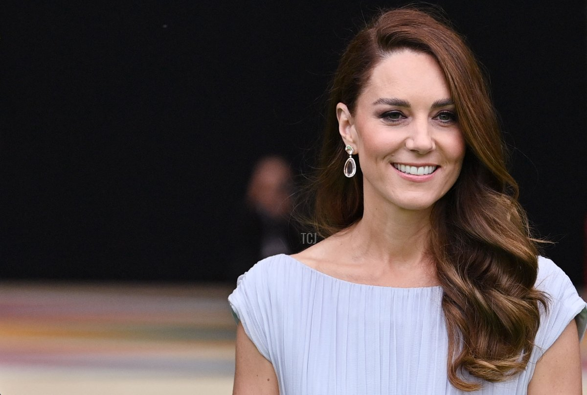 Britain's Catherine, Duchess of Cambridge, arrives on the green carpet to attend the inaugural Earthshot Prize awards ceremony at Alexandra Palace in London on October 17, 2021