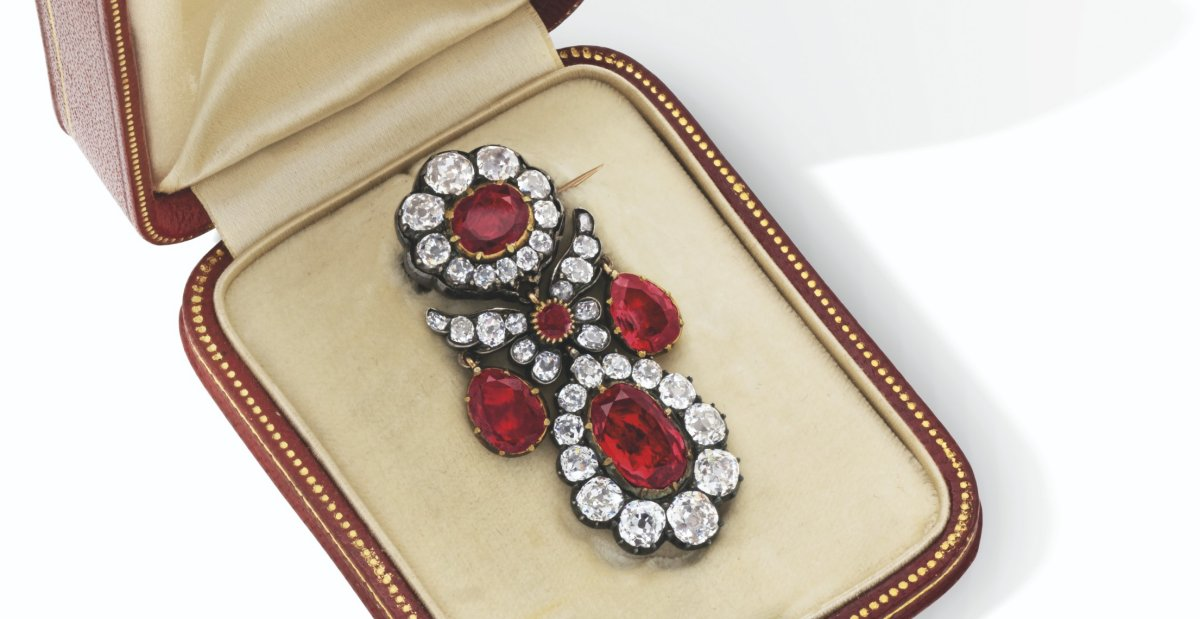 Early 19th Century Ruby and Diamond Brooch