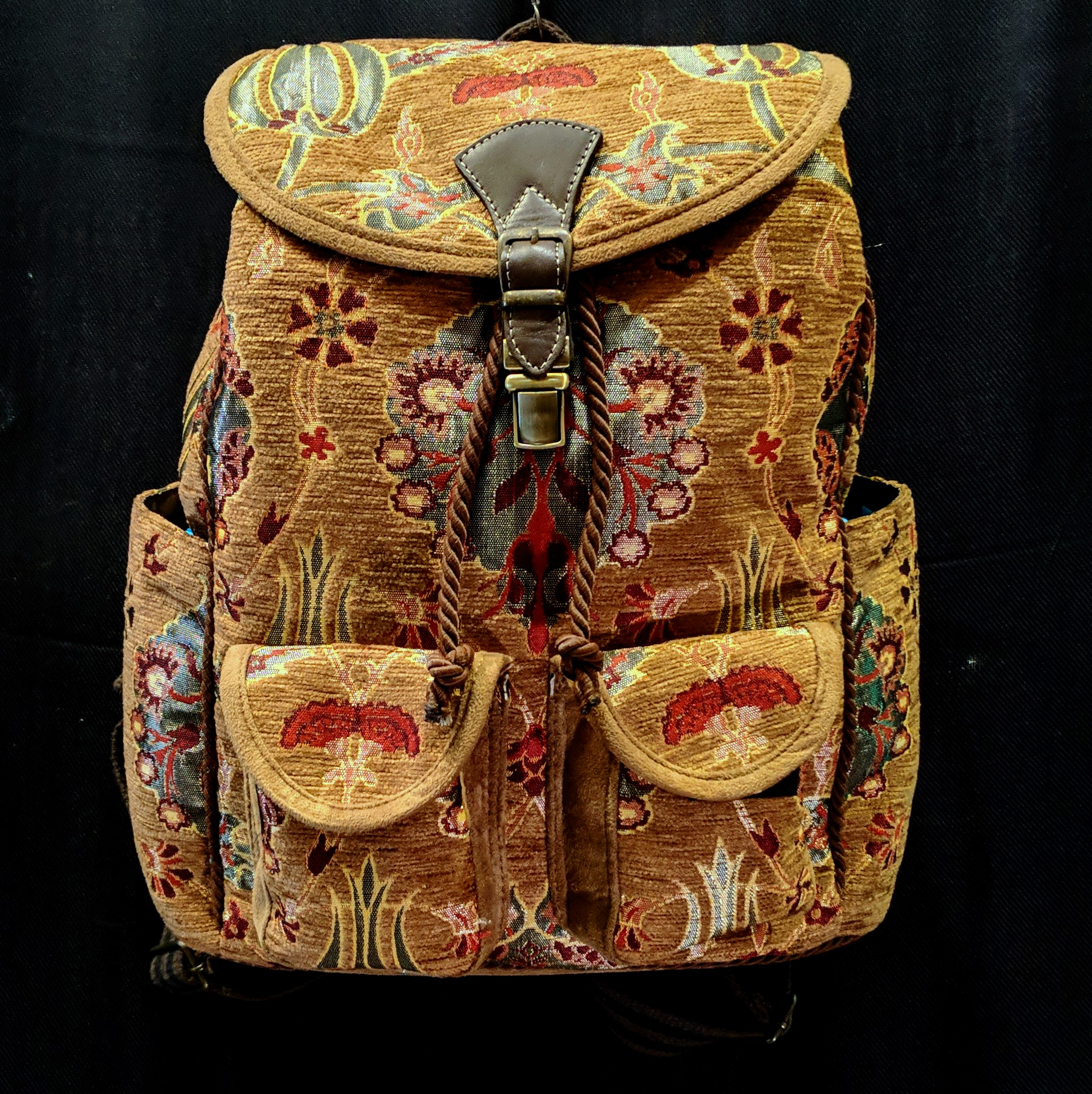 Handmade Pull String And Clasp Closure Large Textile Backpack 15x13x7