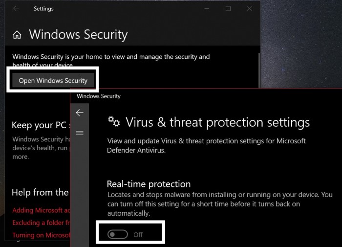 discord update failed turn off windows defender