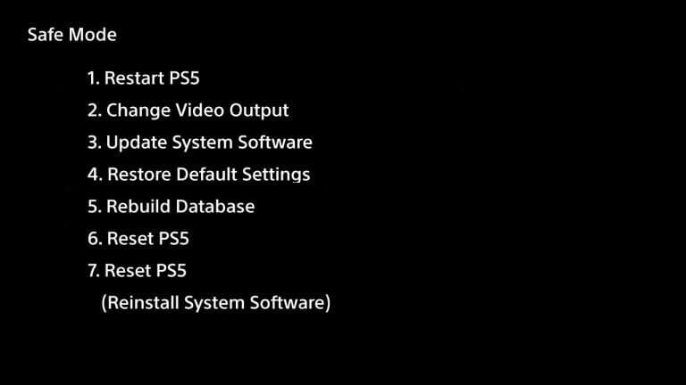safe-mode ps5