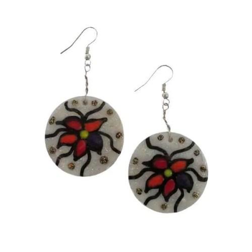 Round Shell Flower-Earrings
