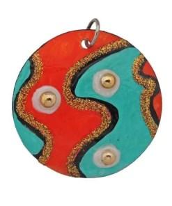 Veronique Round Gold Studded Pendant