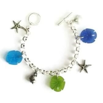 Multi Charm Pewter Seaglass-Bracelet