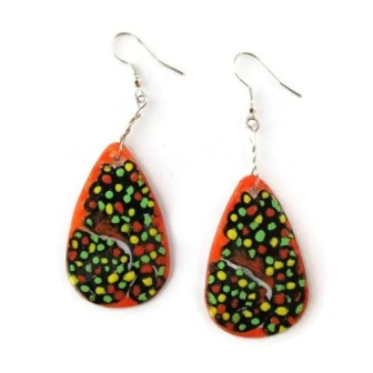 Hand Painted Mosaic Earrings
