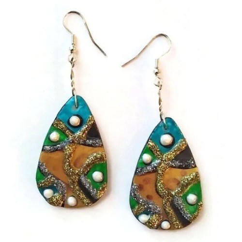 Aqua Mustard Earrings