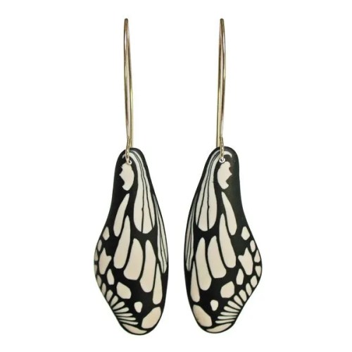 Black and White Butterfly Earrings