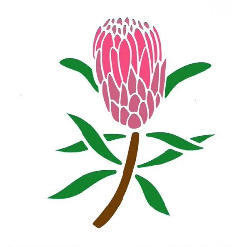 Protea Flower Stencil
