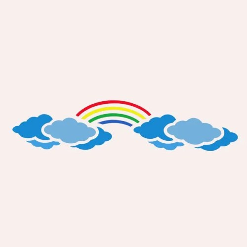 Rainbow Clouds Border Stencil