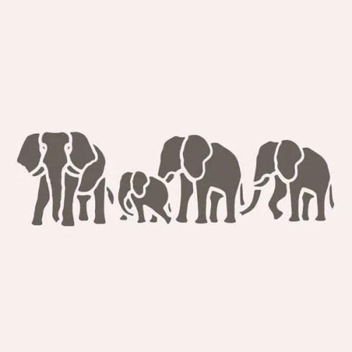 Elephant Herd Stencil