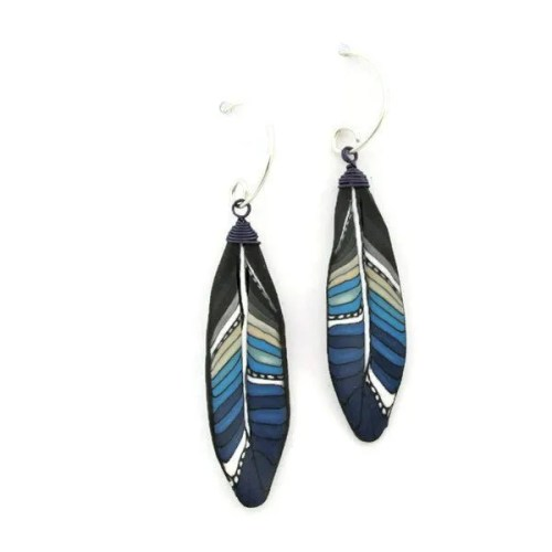 Blue Mini Feather Earrings