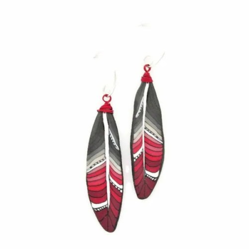Red Mini Feather Earrings