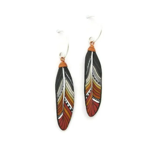 Terracotta Mini Feather Earrings