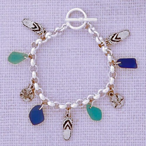 Multi Charm Seaglass Bracelet