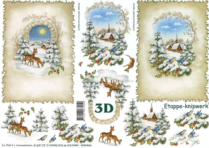 Christmas Scene Designs 3d Decoupage Sheet From Le Suh