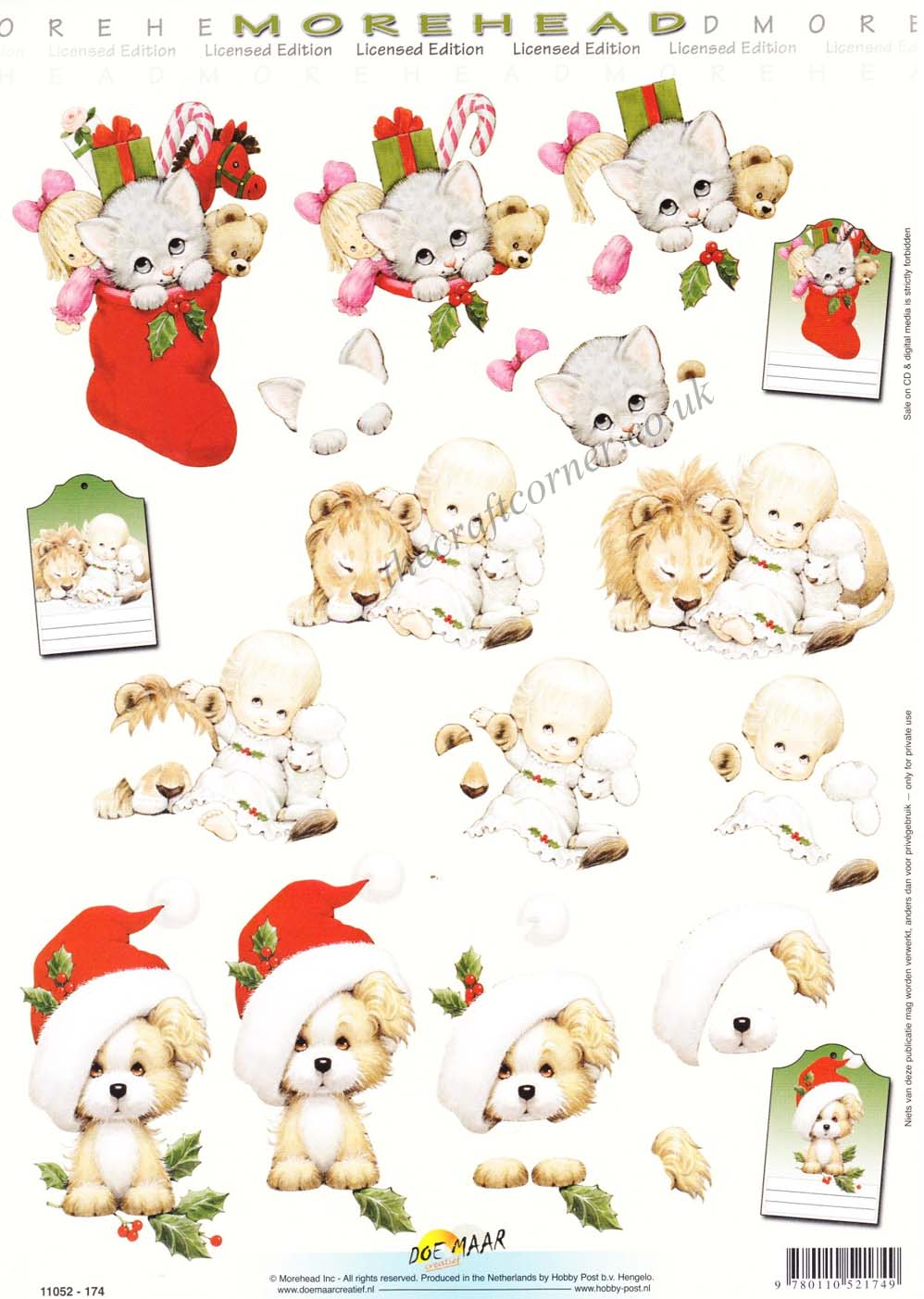 Morehead Animals At Christmas 3D Decoupage Sheet