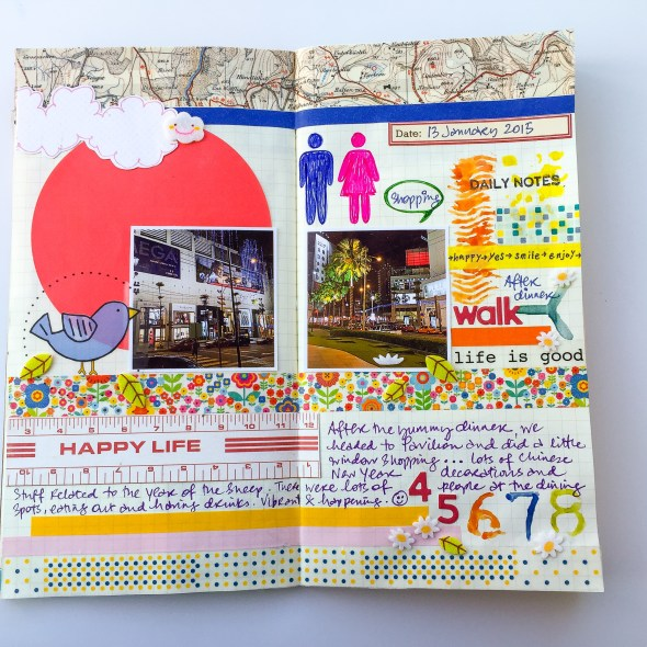 Travel journal pages for The Crafter's Workshop by Yvonne Yam