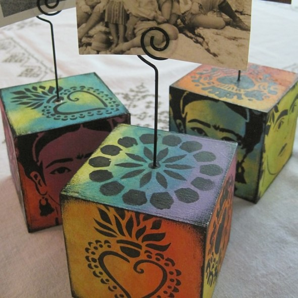 Finished photo cubes with TCW stencils and acrylic paint. Lefko