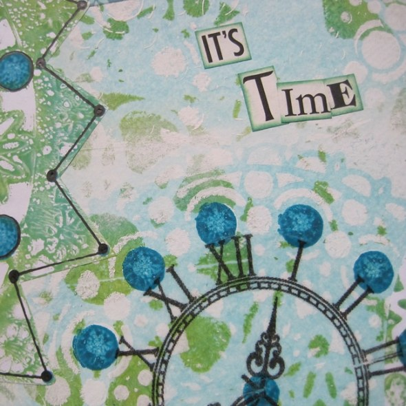 Finished art journal page with TCW stencils 644 and 643s LEFKO