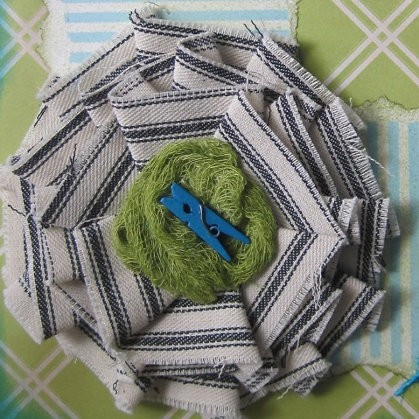 Canvas Corp blue ticking canvas flower and green mini clothespin LEFKO