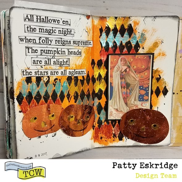 Patty_Eskridge_Harlequin_Halloween_journal_spread_for_The_Crafter's_Workshop. Featured image.