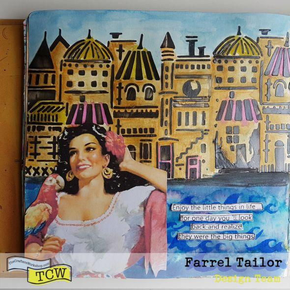 farrel tailor mixed media art journal page