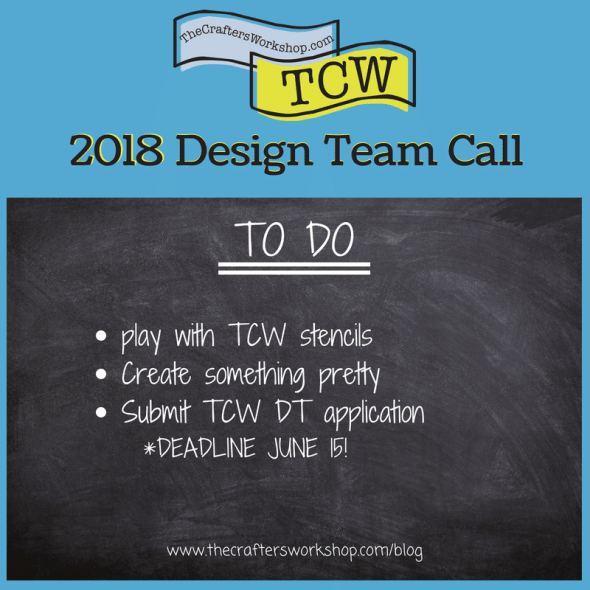 apply now for 2018 TCW Design Team