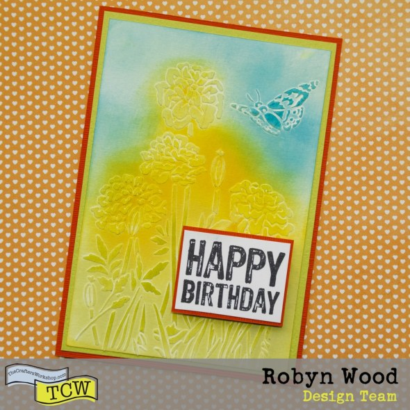 Birthday happiness handmade card with stencilled Dandelions by Robyn Wood