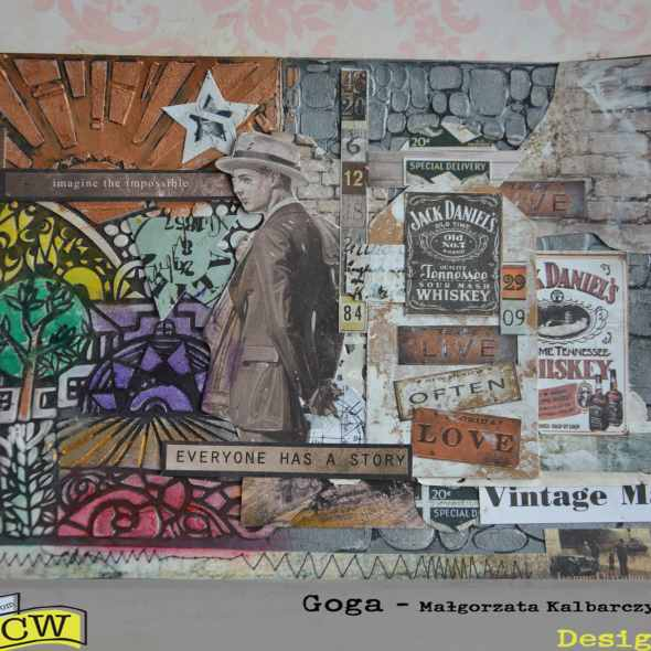 Mixed media art journal page The Past and The Future
