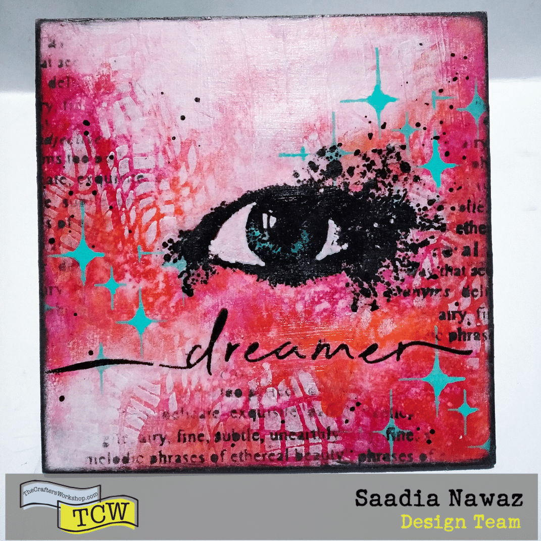 An art project on mixed media board with acrylic paints, inks, acrylic mediums, TCW stencils and stamps.
