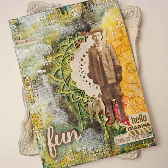 Mixed media birthday canvas for man