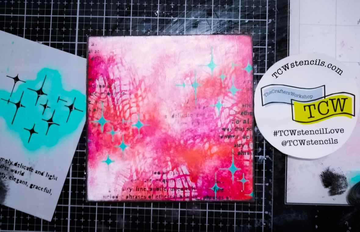 Background stenciling with The Crafters Workshop stencils and acrylic paints
