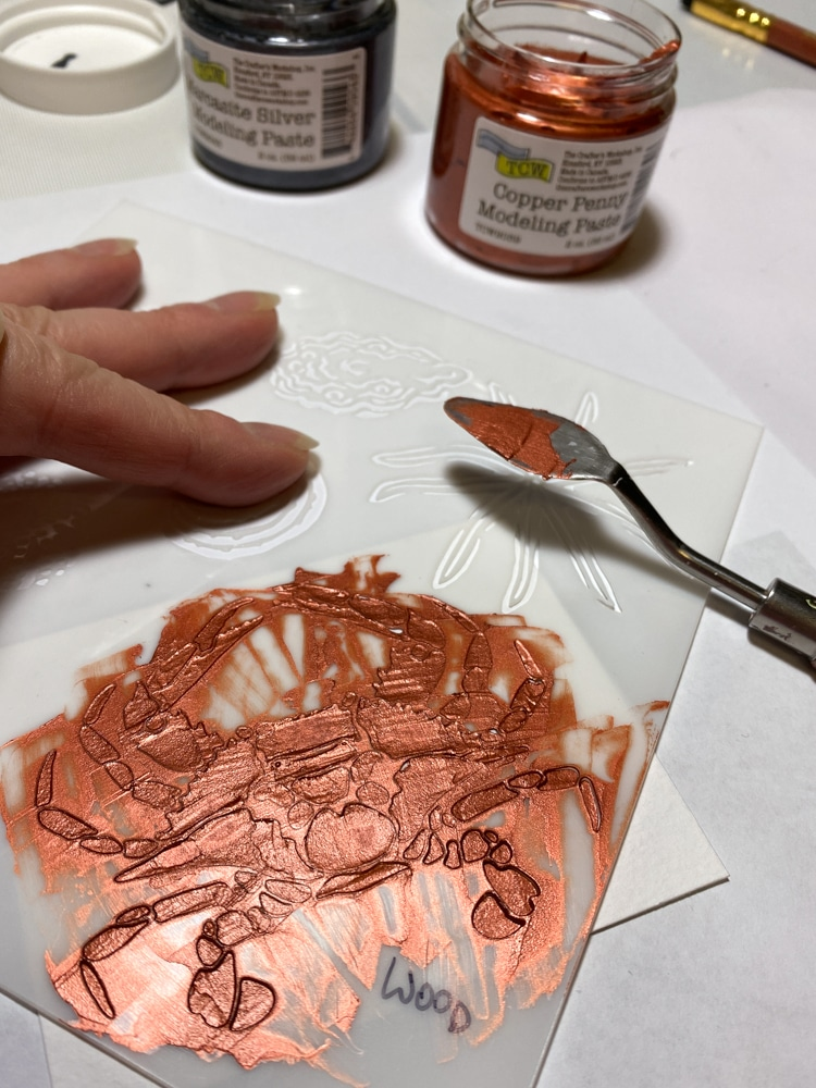 stencilling withTCW9039 Copper Penny through TCW867 Gulf Coast Creatures stencil