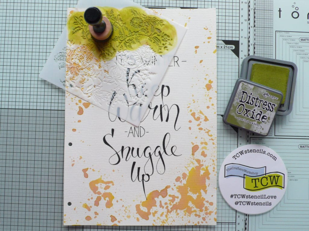 How to create a wintry art journal page with handlettering and stencil