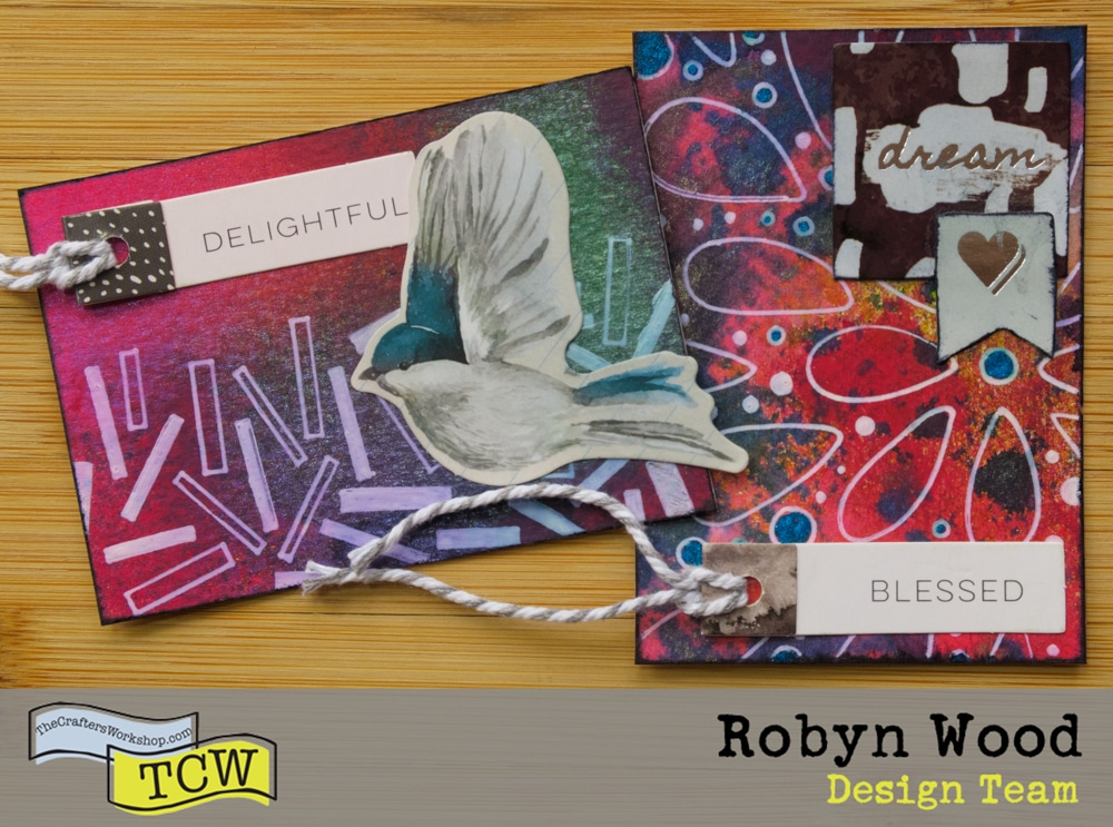 The Crafter's Workshop blog post - Stenciled Artist Trading Cards by Robyn Wood