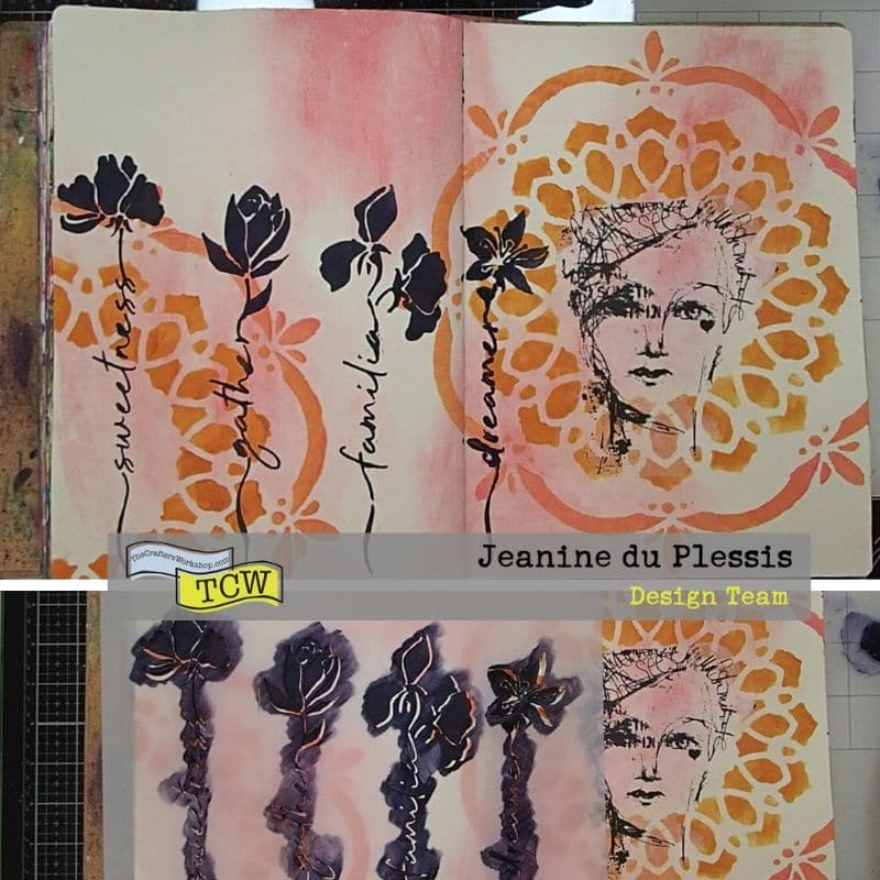 picture of the process of stencilling the flower image.