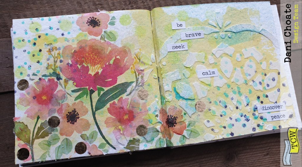 summery page with napkin collage and stenciled mediums